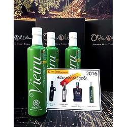 3 botellas x 500 ml - Vieiru, As Pontis variedad manzanilla cacereña - Aceite de oliva virgen extra DOP Gata-Hurdes por Oliva Oliva Internet SL