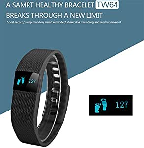 ESTAR Bluetooth Smart Bracelet with Heart Rate Monitor | OLED Display | Waterproof | Health | Activity | Fitness Tracker | Wristband Pedometer | Sleep Monitor | Call Reminder | Clock | Remote camera | Anti-lost Function COMPATIBLE with BLU Dash 3.5 (BLACK)
