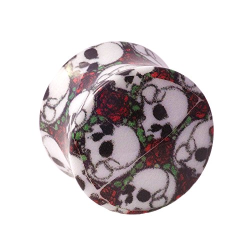 Piercing Plug Skull & Rose Blue Banana Body Piercing (Multicolore) - 16mm (Calibro/Spessore)