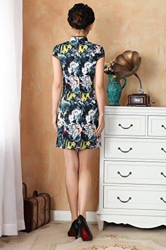 Bigood Robe de Soirée Cocktail Femme Orientale Qipao Manche Courte Motif Fleur Style 2