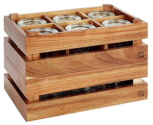 APS Caja de madera–Super Caja de madera de acacia, 29x 18,5cm, altura: 10,5cm