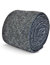 Frederick Thomas mens wool tweed tie in plain grey/gray