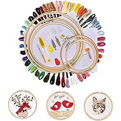 Weyty Stickerei Set Kreuzstich Set Stickgarn Kit mit 5 Stück Bambus Stickrahmen,50 Farbe Fäden,12 von 18-Zoll 14 Count Classic Reserve Aida und Nadeln Set für Kreuzstich Stricken Nähgarne Stickerei
