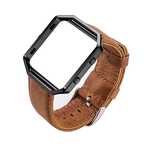 MroTech für kompatibel Fitbit Blaze Armband echtes Leder Uhrenarmband mit Metallrahmen Uralt Stil Lederarmband für Fit bit Blaze Smartwatch Brown Band mit schwarzem Rahmen (Brown + Black) (Fitbit Band Xl)