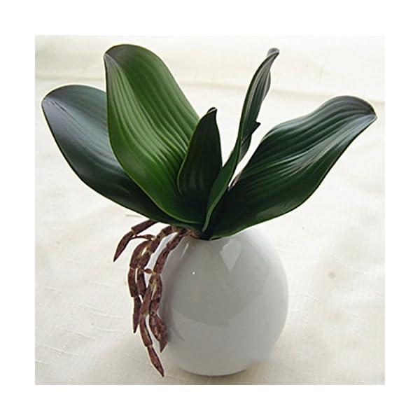 Rama de Hojas Verdes de Orquídea Artificial Decoración de Boda de Casa de Fiesta – A
