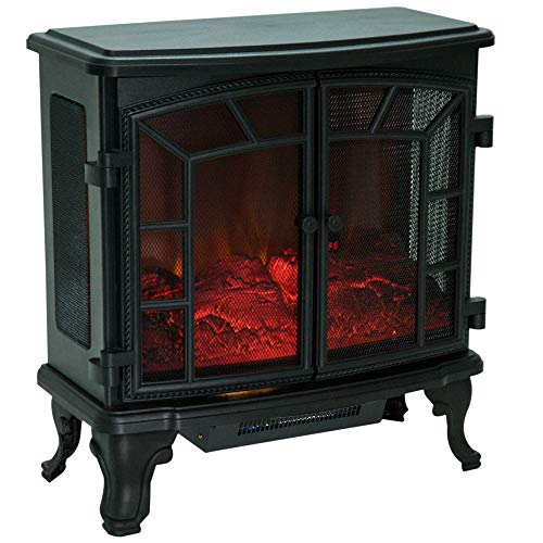 51fGMQx4NQL. SS500  - HOMCOM Freestanding Electric Fireplace Heater Realistic with LED Flame Effect 1000W/2000W