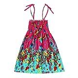 JUTOO Säuglingskindermädchenbaby-Kleidungs-Nationale Art mit Blumenböhmisches Strandgurt-Kleid (Hot Pink,110)