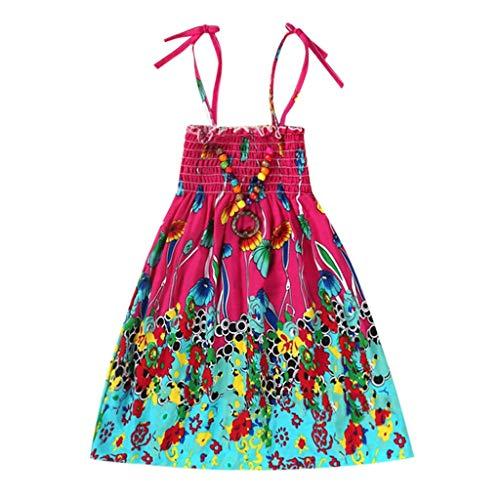 ermädchenbaby-Kleidungs-Nationale Art mit Blumenböhmisches Strandgurt-Kleid (Hot Pink,120) ()