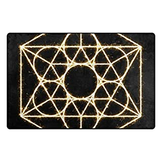FANTAZIO Area Rug Sacred Geometry Entry doormats Straight Carpet Gripper polyester for Corners and Edge Anti-Curling Ideal Rug Stopper For Kitchen/Bathroom 31x20in/60x39in