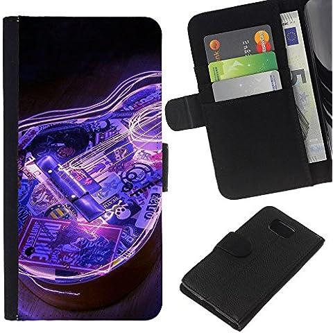 Leather Etui en cuir || Samsung ALPHA G850 || Guitarra eléctrica azul del instrumento de música Negro