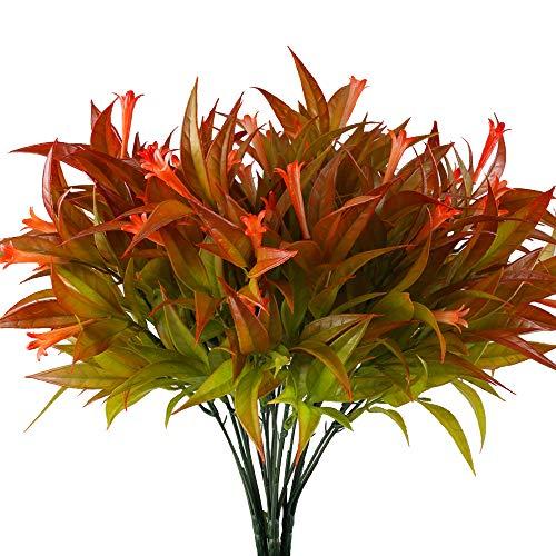 HUAESIN 4pcs Künstliche Pflanzen Balkon Kunstpflanzen Wetterfest Kunstblumen Unecht Blumen Künstliche Grünpflanze Plastikpflanzen Herbstdeko für Balkon Draußen Garten Herbst Deko