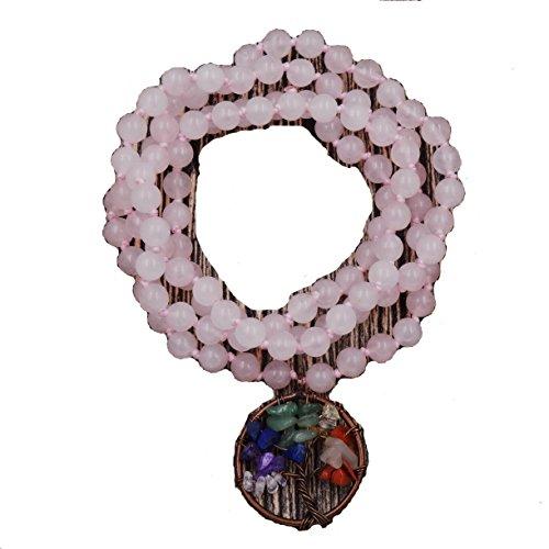 baum des lebens armband, 7 - chakra armband, handgeknotet edelstein armband, das beste geschenk zum geburtstag (rose quartz)