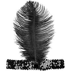 Pageantry - Diadema de plumas para mujer, elegante, diseño de flores, lunares, malla, velo, plumas, tocado para el pelo, sombrero, boda, cóctel