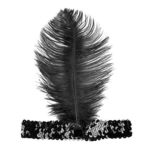 1920s Stirnband Damen Gatsby Kostüm Accessoires 21er Jahre Flapper Feder Haarband Frauen Pailletten Showgirl Haarschmuck Perlen Stirnbänder Halloween Weihnachten Karneval Party Kostüm Haarband (Weihnachten Showgirl Kostüm)