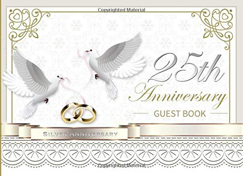 st Book: Beautiful White and Gold Ornate 25th Silver Wedding Anniversary Landscape Guestbook Photo Album Memory Keepsake Gift Scrapbook ()