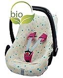 ByBoom® - Sommerbezug, Schonbezug für Babyschale aus 100% BIO-Baumwolle mit Motiv, Universal für z.B. Maxi-Cosi, CabrioFix, Pebble, City SPS, Farbe:Natur - Sterne Aqua