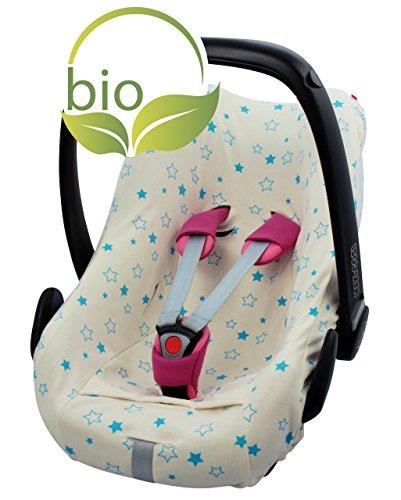 Preisvergleich Produktbild ByBoom - Sommerbezug, Schonbezug für Babyschale aus 100% BIO-Baumwolle mit Motiv, Universal für z.B. Maxi-Cosi, CabrioFix, Pebble, City SPS, Farbe:Natur - Sterne Aqua