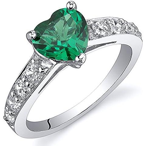 Smeraldo Simulato Anello in Argento puro Finito con Rodio e Nickel permanente Cuore 1.00 carati Misure da 5 fino 9