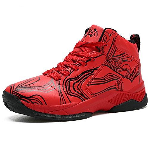 LANSEYAOJI Basketball Schuhe Turnschuhe Kinderschuhe Sportschuhe Jungen High-Top Outdoor LaufeSchuhe Sneaker Unisex-Kinder Atmungsaktiv Anti-Rutsch Trainers Running Shoes,Rot,EU34
