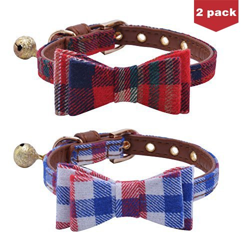 BINGPET Adjustable Leather Bow Tie Collar with Bell Charm for Small Dogs Puppy Cats 2 pcs/set