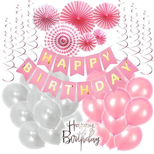 EKO: Geburtstagsdeko Rosa Weiß Gold, Dekoration für Mädchen und Frauen, Happy Birthday Set mit Banner, Papierrosette, Spiralen, Luftballons, Tortenstecker + Bonus ()