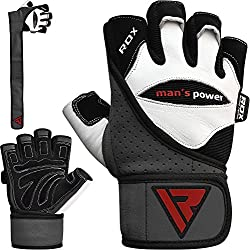 RDX Fitness Handschuhe Trainingshandschuhe Handgelenkschutz Sporthandschuhe Gewichtheben Rindsleder workout krafttraining Bodybuilding Gym Gloves (MEHRWEG)