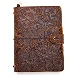"""Leather Journal Travel Diary for Men/Women, UBaymax Handmade Bound Notebook Retro Embossed Refillable Journal Notebook, A5 A6 Planner, Perfect Gift for Men Women Student (Embossed Brown-5.3""""*4.7"""")"""