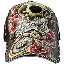 Hombres Chicos Modernos Pintado Remache Cráneo Vistoso Gorra de Beisbol  Gorra Hip Hop Sombrero Visera 655eb6a2bc5