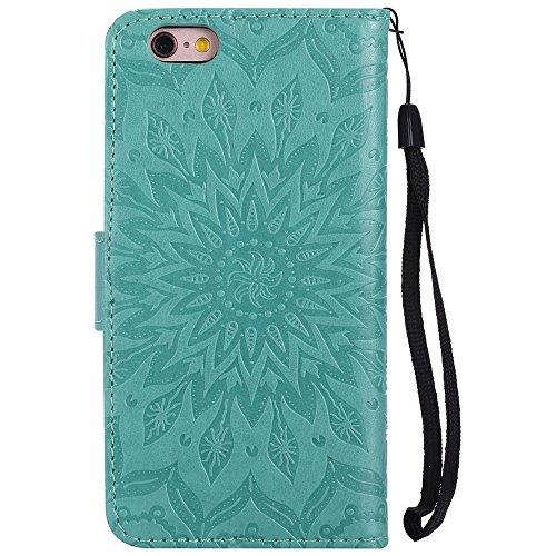 Pour Apple IPhone 6 6s Case, Embossing Sunflower Magnetic Pattern Premium Soft PU Leather Wallet Stand Housse avec cordon et porte-cartes et embouts de cartes ( Color : Gray ) Green