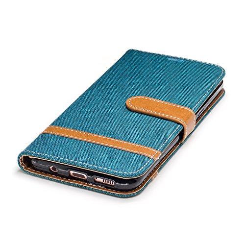 Hülle für Samsung Galaxy S8 Plus, Tasche für Samsung Galaxy S8 Plus, Case Cover für Samsung Galaxy S8 Plus, ISAKEN Farbig Blank Muster Folio PU Leder Flip Cover Brieftasche Geldbörse Wallet Case Leder Leinen Grün