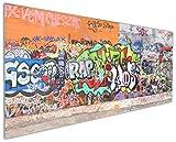 Wallario Küchen-Rückwand | Glas mit Motiv RAP-Graffiti- Wand mit verschiedenen Tags in Premium-Qualität: Brillante Farben, ohne Aufhängung | geeignet zum Verkleben |Spritzschutz Küche Herd Spüle | abwischbar | pflegeleicht
