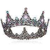 Coucoland - Corona de colores con piedras preciosas, estilo barroco, tiara, retro, boda, lujo, princesa, diadema, corona de cumpleaños, accesorio para disfraz de mujer carbón Talla única