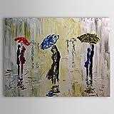 XM handgemaltes Ölgemälde Menschen regen Fußgänger Umarmung in der regen