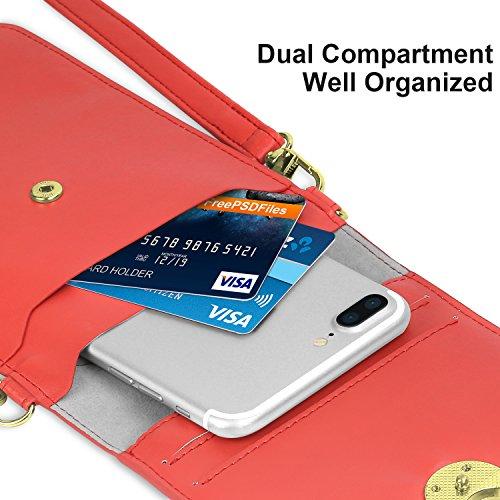 MoKo Bosa a Spalla per Cellurari, Borsello Tracolla Multi-Taschi Universale Fino ad 6 Pollici, per iPhone X / 8 Plus / 8 / 7 Plus / 6s / 6 / 5s / 5c, Samsung Galaxy Note 8 / S8 / S7 Edge �?Nero Rosso