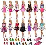 Villavivi Abiti Vestiti Ed Accessori Per La Festa Per Barbie Dolls Bambola Per Regalo 2018 Stili Nuovi (5 Abiti + 5 Paie Delle scarpe + 5 Appendiabiti)