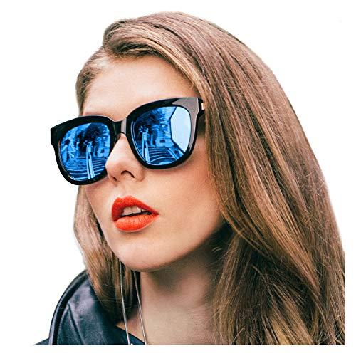 SIPHEW Sonnenbrille Damen Verspiegelt Anti Reflexbeschichtung-100% UVA/UVB Schutz Sonnenbrille Groß