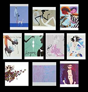 Fashion greeting card collection. 20 beautiful luxury fashion themed art cards (2 ea. of 10). Fantastic value! See full product range by entering LUXURY CARD AND GIFT STATIONERY SELECTION in search box.