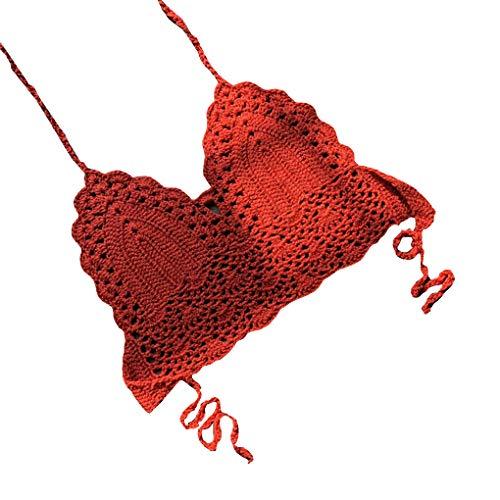 Deinbe Gehäkelte Knitting Bikini Wrapped Brüste Frauen Sexy Spa Split Badeanzug Top Bra Lingerie -