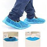 logei® Lot de 100 Surchaussures jetables Couvre-chaussure jetables Non-tissés Couleur bleu