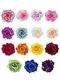 15 Pièces Pince à Cheveux Fleur Clip de Fleurs Roses Pin Up Broche Fleur