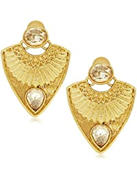 Spargz Designer Gold Plated Alloy MetalAD Stone Stud Earring For Women AIER 491