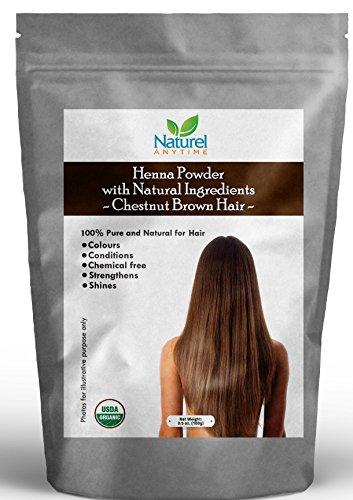 Henna für Kastanienbraunes Haar, 100% pur, stärkt, verleiht Glanz, frei von Chemikalien, USDA Bio-zertifiziert