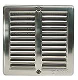 Haco - Rejilla de ventilación con mosquitera y marco de montaje (acero inoxidable, 150 x 150 mm)