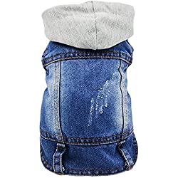 Sild - Chaqueta vaquera con capucha para perros medianos y pequeños, diseño vintage desgastado, color azul