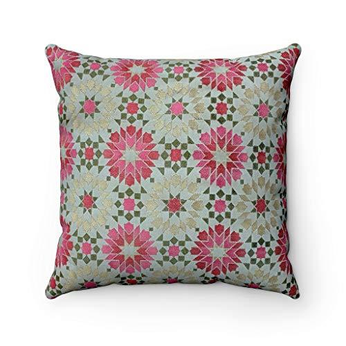 Marokkanischer Designer Jacquard Gemustert strukturierte Chenille geometrische Mosaikfliesen Muster Scatter Kissenbezug - 45,7 x 45,7 cm, Grün/Pink, 45 x 45 cm -