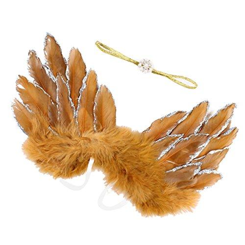 Engel Einfache Kostüm - MagiDeal Baby Neugeborene Fotoshooting Kostüm Engelsflügel Fee Engel Haarband Stirnband Prinzessin Fotografie Prop Engel Feder für Jungen Mädchen - Gold, wie beschrieben