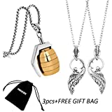 OBSEDE Paare Engel Wings Halsketten Schmuck Gold Edelstahl Handgranate Kette Anhänger 3 STÜCKE