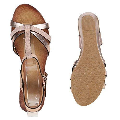 Damen Sandaletten Glitzer | Keilsandaletten Schnallen | Bast Wedges Muster | Plateauschuhe Keilabsatz | Party Abiball Schuhe |Zierperlen Metallic Strass Rose Gold Glatt