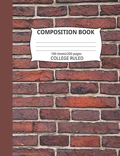 Composition Book: Brick Wall Pattern 2: Blank College Ruled Notebook - Wall Rack Hat Blue