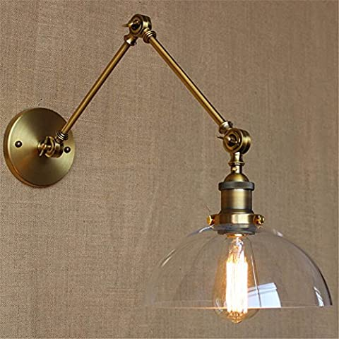 Larsure Vintage Industrial Style Wall Sconce Wall Light Lamp Semi-circular glass shade double long arm living room balcony bedside lamp, diameter 250mm arm length
